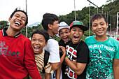Indonesian teenagers in Bukit Lawang in North Sumatra province, Island of Sumatra, Indonesia, Southeast Asia