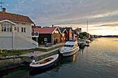 Skaerhamn harbour at sunset, Tjoern, Bohuslan, Sweden
