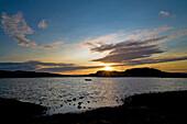 Coastal landscape near Smoegen at sunset, Bohuslan, Sweden