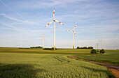 Agricultural landscape with wind wheels near Bueschdorf, Saarland, Germany, Europe