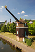 View of crane Saarkran at the river Saar in the sunlight, Saarbruecken, Saarland, Germany, Europe