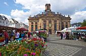 Market in front of baroque ensemble of St. Louis' Church and St. Louis' Square, Alt Saarbruecken, Saarbruecken, Saarland, Germany, Europe