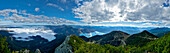 View from mount Herzogstand over Lake Walchen and Bavarian Alps, Upper Bavaria, Germany