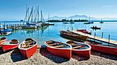 Boats at beach, Marina of Gstadt, lake Chiemsee, Chiemgau, Upper Bavaria, Germany
