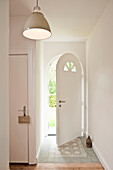 Open front door, House furnished in country style, Hamburg, Germany