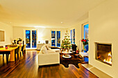 Modern flat with christmas tree, Hamburg, Germany