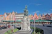 Belgium-August 2010 Brugge City Markt square Jan Breidel Monument.