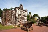 Malaysia Nov  2010, Melaka City, Portugese Porta de Santiago San James Fort Gate W H, XV Century