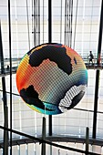Symbol Exhibit Geo Cosmos, Miraikan, National Museum of Emerging Science and Innovation, Odaiba, Tokyo, Japan
