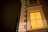 Architectural detail, building, Color image, concept, corner, facade, horizontal, Italian, light, night, no people, restaurant, view from below, window, Worm´s eye view, B75-1003541, AGEFOTOSTOCK