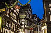 Half-timbered houses, La Petite France district at night, Christmas time, Strasbourg, Alsace, France