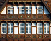 Germany, Osnabrueck, Hase, Hase valley, Osnabruecker Land, Teutoburg Forest, Wiehengebirge, Lower Saxony, half-timbered house in the Dielingerstrasse, wood carving. Germany, Osnabrueck, Hase, Hase valley, Osnabruecker Land, Teutoburg Forest, Wiehengebirge