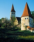 D-Greding, Schwarzach, nature reserve Altmuehltal, Franconian Alb, Middle Franconia, Franconia, Bavaria, city fortification, town wall, church Saint Martin, Romanesque basilica, catholic church, defence tower, meadow, spring blossom, evening mood