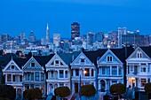 USA, California, San Francisco, The Haight, houses at Alamo Square, dusk