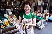 Japan, Kyoto, Nishiki market, wasabi roots.