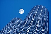 architecture, blue, building, Color image, diagonal, height, horizontal, moon, no people, outdoor, sky, skyscraper, tall, view from below, Worm´s eye view, E48-924005, AGEFOTOSTOCK