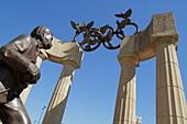 Georgia, Atlanta, Centennial Olympic Park, landmark, statue, Baron Pierre de Coubertin, Olympic Rings, columns, founder, International Olympic Committee, sportsmanship, honor, monument, commemorate, memorial