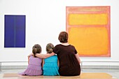 Pennsylvania, Philadelphia, Philadelphia Museum of Art, institution, exhibition, Modern collection, painting, artwork, Mark Rothko, orange, pink, woman, girl, mother, daughter, parent, child, teach, parenting, sitting, looking, hugging, appreciation