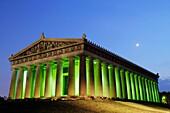 Tennessee, Nashville, Centennial Park, Parthenon, 1897, historic building, museum, Greek, Athena, classical architecture, full-scale replica, re-creation, column, pediment, dusk, lit-up, moon