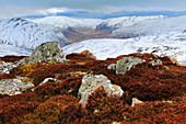 View, mountain, mountains, mountain panorama, Cairngorms, Erika, cliff, rock, cliff, mountains, Glenshee, moor, highlands, highland, living space, national park, park, panorama, snow, Scotland, Great Britain, stone, stones, mood, valley, width, broadness,