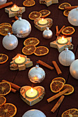 Christmas, ball, tree, decorations, decoration, adornment, spices, glitter, heart, heart, tea cozy, candle, wood, candles, ball, sphere, Merry Christmas, pattern, close_up, oranges, jewellery, star, to stars, star tea lights, mood, fir_tree tea warmer can