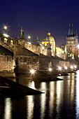 architecture, art, bridge, Charles bridge, cities, city, cityscape, colour, Czech Republic, dusk, Europe, exterior, lamp, lantern, light, old, outdoor, outdoors, outside, Prague, praha, stare mesto, statue, tower, spire, urban landscape, world travel. arc