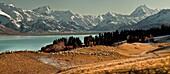 High country sheep station above Lake Pukaki, Mt Sefton  left and Aoraki / Mt Cook, winter, Canterbury, New Zealand
