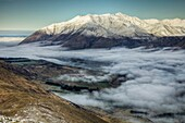 Mt Hutt, June 1st, first day of winter, morning cloud from Mt Oakden, Rakaia river valley, Canterbury high country