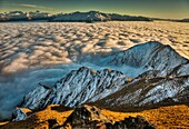 Winter sunrise from tussock covered Mt Roy, above sea of cloud over Lake Wanaka, Mt Aspiring on left, Otago, New Zealand