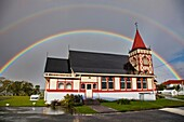 Rainbows over Maori owned Church of St Faith, Ohinemutu, Rotorua.