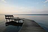 Lakeside Dock With Bench At Dusk, Ithaca, New York, USA
