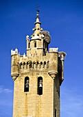 Fortified bell tower of El Salvador Church, Ejea de los Caballeros, Zaragoza province, Aragon, Spain