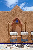 Wall detail at the Hotel Kasbah Asmaa in Midelt, Morocco