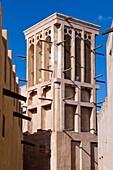 Architecture of the Bastakiah section near Dubai Creek featuring the characteristic ventilation wind towers in Dubai, UAE, Persian Gulf