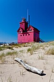 The Big Red lighthouse on the shores of Lake Michigan near Holland, MI, USA