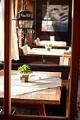 Tables in the Panorama Room, Ecohotel Grafenast, Am Hochpillberg, Schwaz, Tyrol, Austria