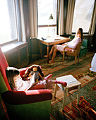 Mother and daughter in a hotel room, Rotterdam, Netherlands