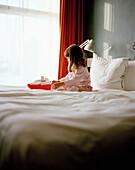 Girl in bed with ship, Kop van Zuid, Rotterdam, Netherlands