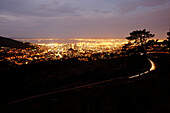 View from the foot of Table Mountain in the evening, Gardens, City Centre, Cape Town, South Africa, Africa