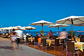 Restaurant on the seaside promenade at dusk, Corralejo, Fuerteventura, Canary Islands, Spain