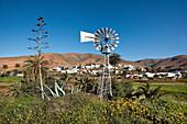 Wind wheel in mountain village Toto, Fuerteventura, Canary Islands, Spain