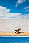 Deck chair at hotel pool, Lanzarote, Canary Islands, Spain, Europe