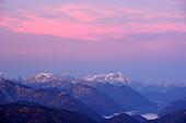 View towards the Zugspitze at dawn, Risserkogel, Bavarian Foothills, Upper Bavaria, Bavaria, Germany