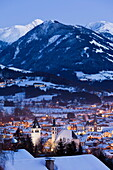 Old Town, panorama in the evening, Parish Church and Liebfrauen Church, Vorderstadt, Kitzbuhel, Tyrol, Austria