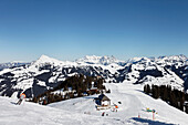 Hahnenkamm Summit, Kitzbuehler Horn in the background, Kitzbuhel, Tyrol, Austria