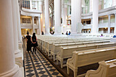 Interior design of the St Nicolai church with row of seats and columns, peaceful revolution, pease prayers, Leipzig, Saxony, Germany