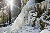 Frozen waterfall near Hinterzarten, Black Forest, Baden-Wurttemberg, Germany