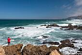 Surf at the beach Praia da Castelejo, Atlantic Coast, Algarve, Portugal, Europe