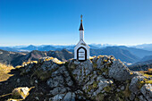 Chapel on the Hochgern summit, Chiemgau Alps, Bavaria, Germany, Europe