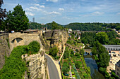 Bock rock with Alzette valley, Luxemburg, Luxembourg, Europe